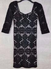 Intimately Free People Bodycon Dress Size ML Black White Lace Overlay 3/4 Sleeve