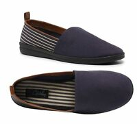 MENS GROSBY MATTHEW NAVY STRIPE CANVAS MEN'S SLIP ON SHOES HOME WARM SLIPPERS
