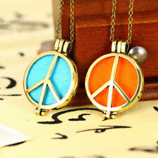 Peace Sign Aromatherapy Essential Oil Photo Locket Perfume Diffuser Necklace