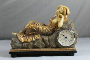 Mantel Clock Table - Actuate, Slightly Clad Woman Embedded - Art Nouveau Repro