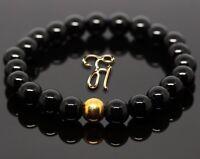 Onyx 925er sterling Silber vergoldet Armband Bracelet Perlenarmband schwarz 8mm