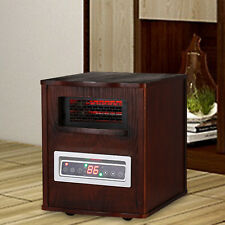 Home Portable Heating 1500W Wooden Remote Control Dark Infrared Space Heater New