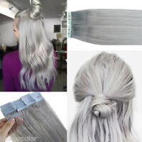 Seamless Tape in Skin Weft Remy Human Hair Extensions Silver Gray 16Inch 20pcs