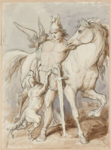"""""""Antique Warrior"""" Polish School of the 19th century, drawing"""