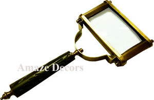 Vintage Style Brass Magnifier Rectangle Wooden Handle Magnifying Glass