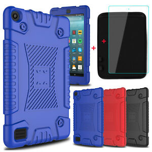 For Amazon Kindle Fire 7/HD 8 Soft Silicone Tablet Case+Screen Protector+Pouch