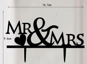 Black Silhouette Cake Topper for MR & MRS Anniversary Party & Wedding UK