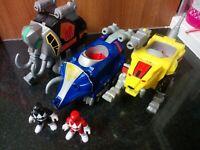 Imaginext Power Rangers Figures Zords Mastodon, Sabre Tooth Tiger & Triceratops