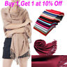 22 Color Women Soft Cashmere Blend Solid Long Pashmina Shawl Large Wrap Scarf