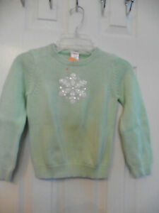 NWT Girls Gymboree Sweater Mint Green w/ Sequin Snowflake -Cotton - Size S (5-6)