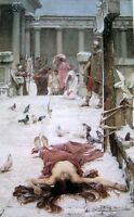 """Oil painting Waterhouse - Death of Saint Eulalia in winter & birds no framed 36"""""""