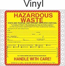 Hazardous Waste California Vinyl Labels HWL175V (PACK OF 500)