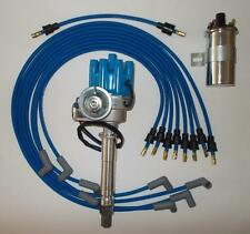 Small Block CHEVY Electronic ignition+45K Coil+BLUE SPARK PLUG WIRES under exhau