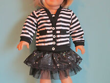 Awesome Black & White Striped Jacket and Black Dress fits American Girl
