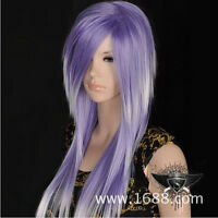 Harajuku COS wig New sexy long Purple White gradient Cosplay Straight Wigs