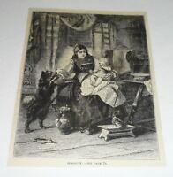 1878 magazine engraving ~ DOG JEALOUS OF INFANT