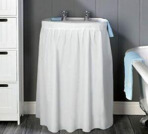Sink Skirt White Bathroom Curtain Vinyl Storage Sink Hide