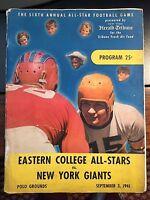 1941 NY Giants vs East College All-Stars Football Program w/TKT STUB FAIR/GOOD