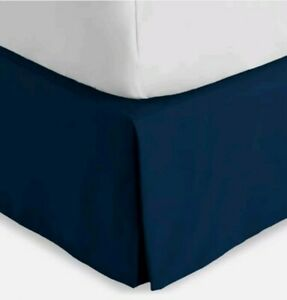 "BARE HOME BEDSKIRT TWIN XL MICROFIBER ESTATE BLUE 15"" DROP PLEATED BED BEDDING"