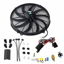 "16"" 3000+Cfm Black Electric Radiator Fan Thermostat Wiring Switch Relay Kit Usa"