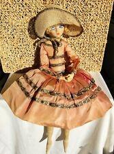 New ListingAntique 1920-30s Etta Gerling Boudoir Doll French Pierrot Blonde Blue Eyes