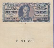 Ceylon 10 Cents Banknote 1.2.1942 Extra Fine Condition Cat#43-A-514831