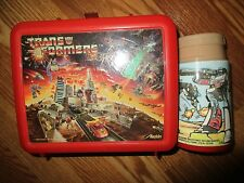 1984 Aladdin Red Transformers Lunchbox and Thermos. Missing cup*