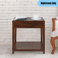Modern Nightstand w/ Drawer USB Port Charging Station Side End Table Solid Wood
