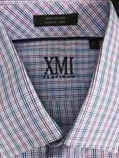New XMI Platinum-17 x 32/33-100% Cotton Blue, Lt. Blue, Lavender & White Plaid