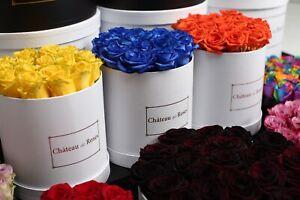 Luxury Flower Hat Box - Fresh/ Eternal/ Forever Roses Black / White Florist UK