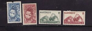 Lot of 4 Old 1947 Martinique Stamps Native Woman Etc