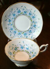"COALPORT ""Harebell"" Turquoise Tea Cups & Saucers Bone China ENGLAND"