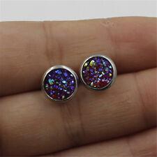 Fashion Women Twinkle sparkle Boho Jewelry Silvery Druzy Stud Earrings Size 8mm