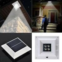 4LED Solar Square Power Outdoor Garden Yard Gutter Fence Wall Lamp Pathway Light