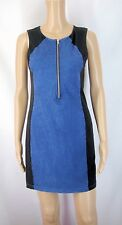 (161)New H&M Blue/Black Zip Front Sleeveless Short Mini Dress Sz S RRP £12.99