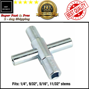 4-Way Sillcock Key For Outdoor Water Faucet Valves Residential Commercial