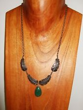 Native American Sterling Silver Handmade Feather & Turquoise Necklace Signed