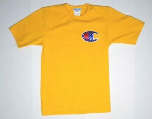 Champion Vintage T Shirt Gold Small Patch Logo Sport Retro Yellow