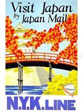 VINTAGE TRAVEL JAPAN BLOSSOM TEMPLE PAGODA ART POSTER PRINT LV5010