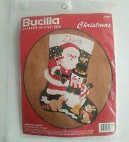 "Vintage Bucilla 15"" Felt Stocking 32967 ""Christmas Friends"" Santa Snowman Sealed"