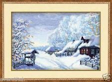 "Cross stitch kit RIOLIS ""Russian Winter"" art. 989, snow, village, 38*26cm"