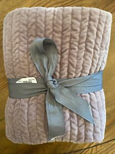 NEW Pottery Barn Velvet Channel Standard Size Lavender Pillow Sham NWT Soft