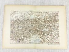 1881 Antique Military Map of Austria Tyrolean Mountains Alps Tyrol Italy