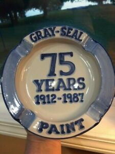 """M. A. Hadley Advertising Gray Seal Paint 1912-87 Ash tray 75 yrs 8"""" Pottery"""