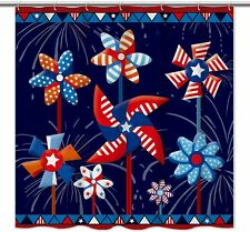 Colorful Blue Red Summer Pinwheel Patriotic Fabric Shower Curtain