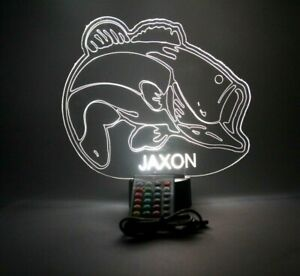 Fish Night Light Up Table Desk Lamp LED Personalized Sea Bass Fishing and Remote