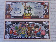 TOY STORY: 1995 Pixar Movie <> $1,000,000 One Million Dollar Bill: United States