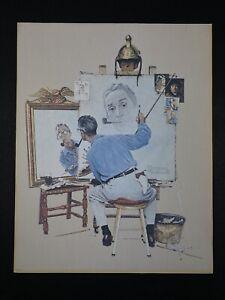 Triple Self Portrait by Norman Rockwell 1972 Canvas Reprint