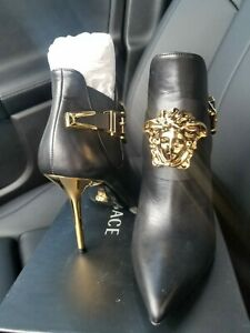 VERSACE Medusa Head Black/Gold Leather Women Boots