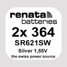 2x Renata 364 Uhren-Batterie Knopfzelle SR621SW AG1 1,55V Silberoxid Neu